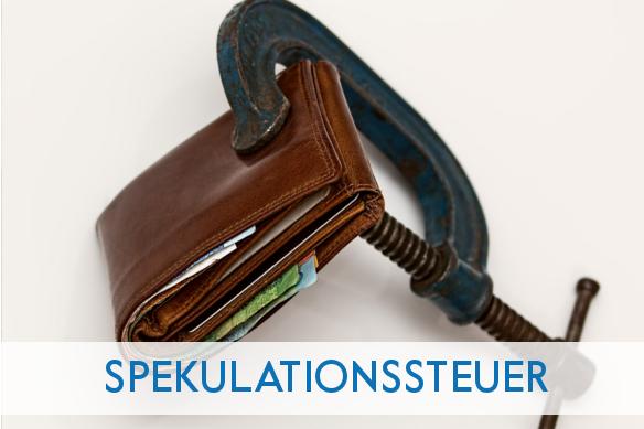 Titelbild Spekulationssteuer Geldbörse mit Schraubstock verschlossen