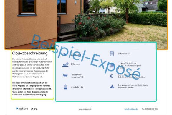 Gestaltung des Maklaro-Exposé Designs in Modulen anhand der 2. Seite des Beispielexposés